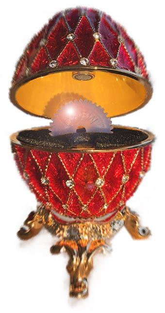 Ett Fabergéägg med en CHEWPEER inuti istället för ring.