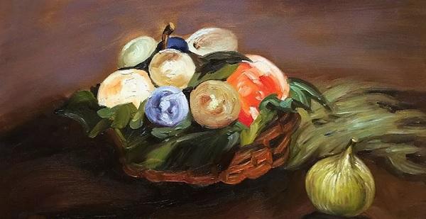En skål med frukter. Målad av Edouard Manet