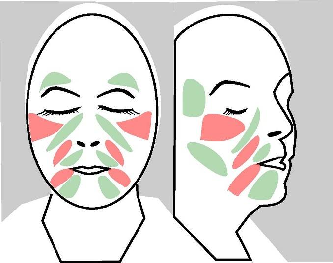 JAWPEER and Face Yoga in concert can make wrinkles in the red spots vanish. The training can also boost collagen formation in the green areas.