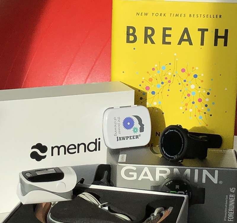 Min verktygslåda för hjärnhälsa innehåller Breath, Garmin Forerunner, Oxymeter, Mendi and JAWPEER